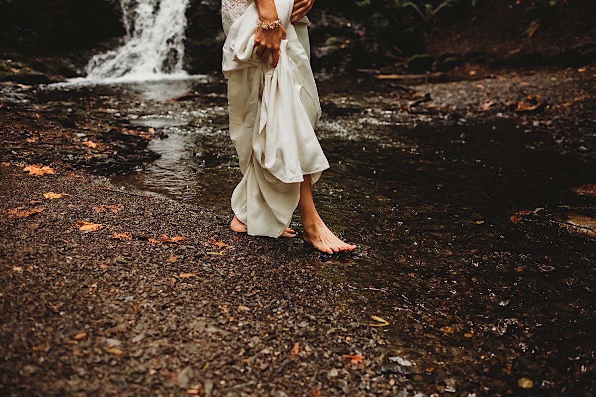 Rainy waterfall elopement on San Juan's Orcas Islands